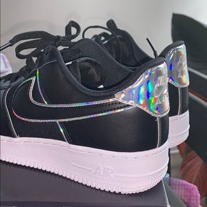 RARE NIKE Black Air Force 1 w Holographic details